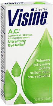 Astringent Redness Reliever Eye Drops Visine - Visine A.C. Astringent/Redness Reliever Eye Drops .5 oz. (Pack of 3)