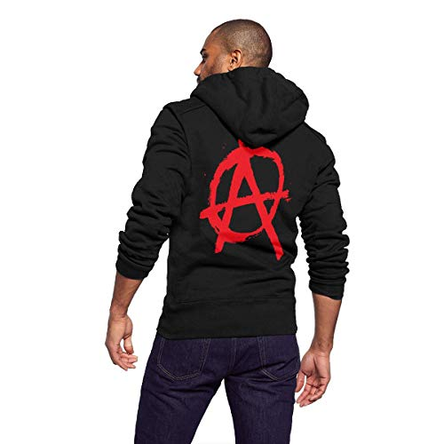 (Unisex Adult Full Zip Long Sleeve Casual Hooded Sweatshirt Top, Mens Hoodies Pullover, Lightweight Thin Hooded Sweater, Anarchy Punk Riot Disorder Distressed Symbol Flag)
