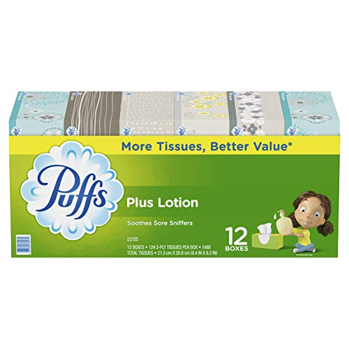 Gamble Puffs Facial Tissue - Puffs Plus Lotion Facial Tissues, 12 Family Boxes, 124 tissues per box