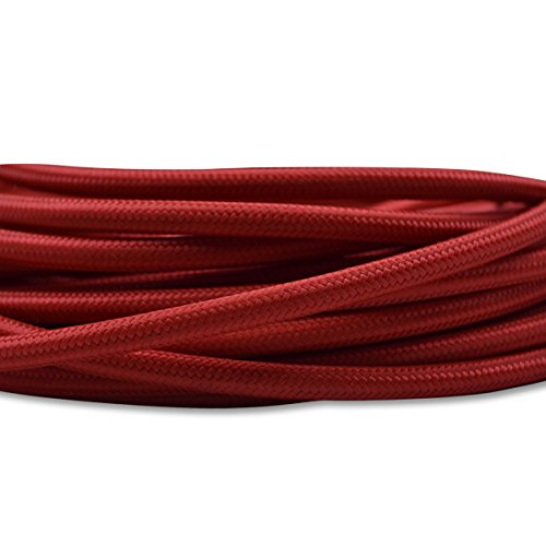 HUIBONA 32.8ft Round 18/2 Antique Rayon Covered Cord, Cloth Electrical Wire, 18 Gauge Vintage Industrial Style Lamp Cord DIY Projects (Red) (Antique Wire Rayon)