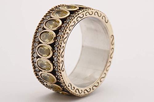 Turkish Handmade Jewelry Oval Cut Shiny Peridot Topaz 925 Sterling Silver Band Ring Size Options