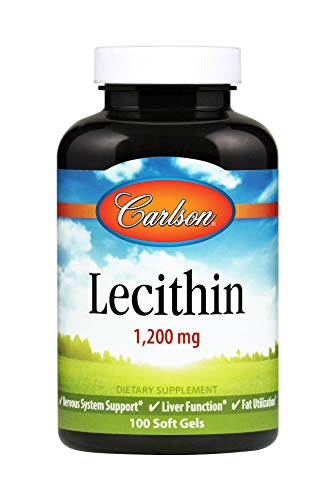 (Carlson - Lecithin, 1200 mg, Nervous System & Liver Function, Unbleached Soy Lecithin, 100 Soft gels)