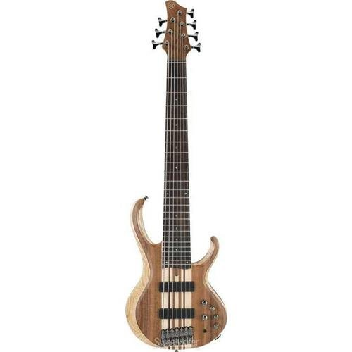 Ibanez BTB747 7 string Electric Bass Guitar with Mahogany-backed Ash Wings, Walnut Top2 Humbucking Pickups and 3-band Active EQ – Natural Flat Low Gloss