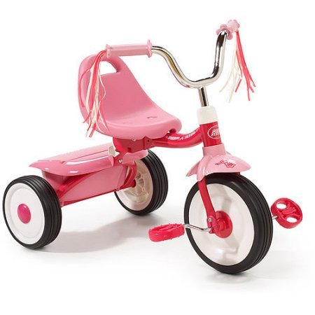 Radio Flyer Kids Pink Folding Bike Sports Pedal Push Trike Tricycle for Toddler Girl