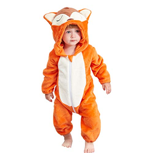 MICHLEY Newborn Baby Winter Hooded Romper Flannel Infant Jumpsuit Outfit, Fox, 2-5months, Size 70 ()