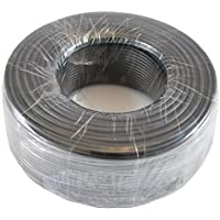 Round Phone Cable 300ft Black Roll (100 M - 328 ft) 4X1/0.4 Reel Telephone Cord