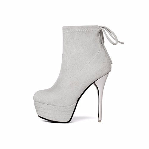 Light female after high straps with boots Winter heeled and grey thin suede shoes zqPxOw