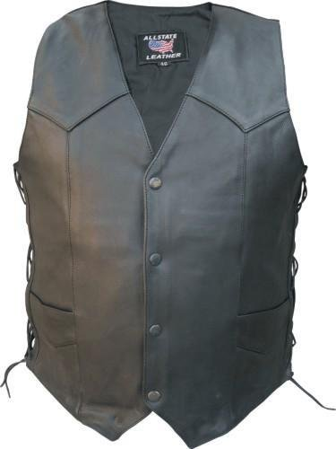 Mens Drum Dyed Naked Cowhide Leather Motorcycle Vest w/ Side Laces and Buffalo Snaps AL-2251-54