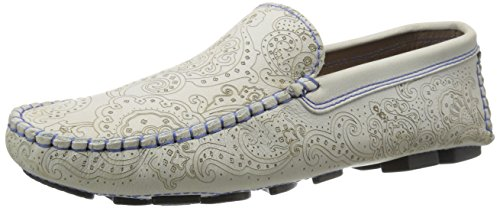 Robert Graham Mens Verrazano Slip-on Mocassin Blanc Cassé