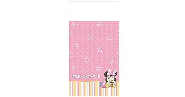 Amazon.com: Disney Minnie 1er Cumpleaños Mantel de plástico ...