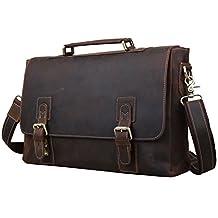 BAIGIO Men's Retro Leather Briefcase, 14 Inch Laptop Messenger Bag, Brown