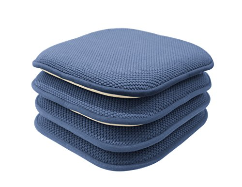 GoodGram 4 Pack Non Slip Honeycomb Premium Comfort Memory Foam Chair Pads/Cushions – Assorted Colors (Blue)