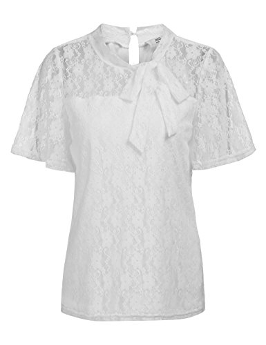 Concep Women Lace Top Casual Short Sleeve Tie Blouse See Through Semi Sheer Shirt White M