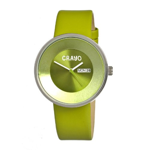 crayo-womens-button-green-leather-strap-watch