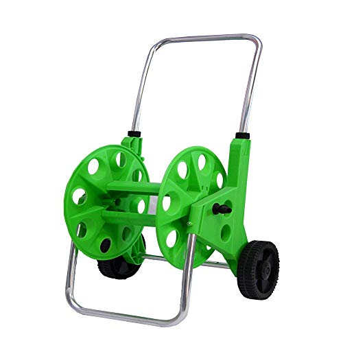 AquaHose Irrigation Water Pipe Hose Reel Wheeled Cart with Folding Handle Revolving Type