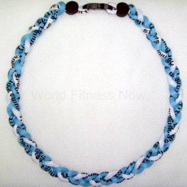 - Titanium Baseball Necklace 20 Inch Aqua Blue/White