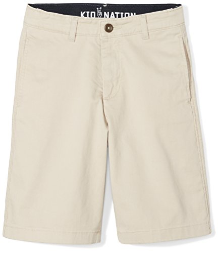 Brushed Twill Shorts (Kid Nation Boys Twill Flat Front Short with Comfort Flex Waistband)