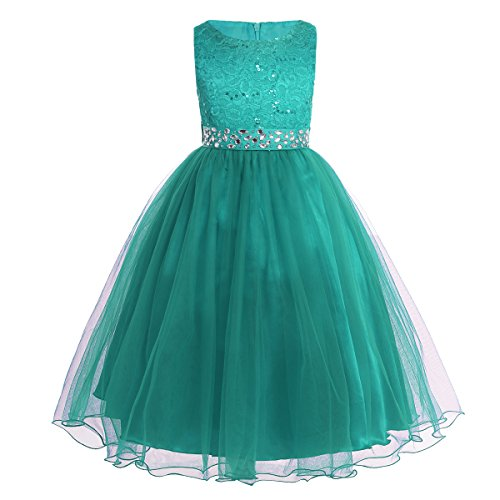 YiZYiF Kids Sequins Rhinestone Belt Embroidered Communion Pageant Wedding Party Flower Girls Dresses Turquoise 6