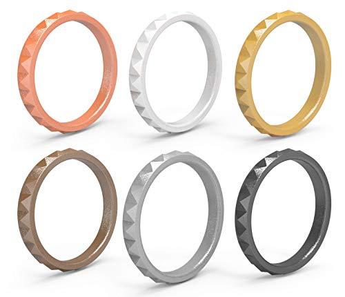 Arua Stackable Diamond Silicone Rings 6Pack (Gold, Silver, Copper, Rose, Black, White, 7-7.5 (17.3mm Diameter))