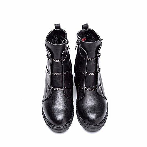 Cestfini Women Smooth Leather Fur Flat Winter High Ankle Boots 7 UK 41 EU Black yNwf8