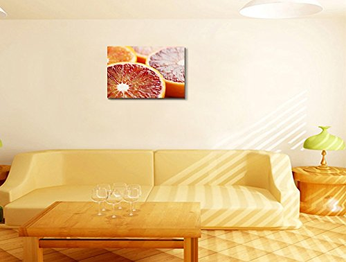 Close Up of Halved Blood Orange Fruits Photograph Wall Decor