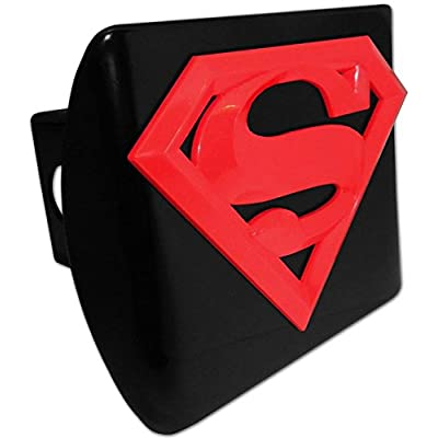 Elektroplate Superman Red emblem on black METAL Hitch Cover: Automotive