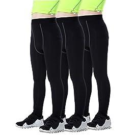 LNJLVI Boys & Girls Sports Fitness Compression Pants Baselayer Under Tights/Leggings of 3 Pcs