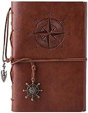 Kunstlederen dagboek, notitieboek, navulbaar, spiraalbinding, klassiek, reliëf, reisdagboek, met blanco pagina's en retro hangers, van Maleden bruin