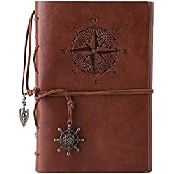 MALEDEN Refillable Spiral Daily Notepad Classic Embossed Travel Journal Diary