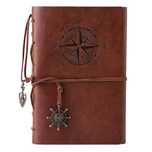 Travel Diary - MALEDEN Refillable Spiral Daily Notepad Classic Embossed Travel Journal Diary