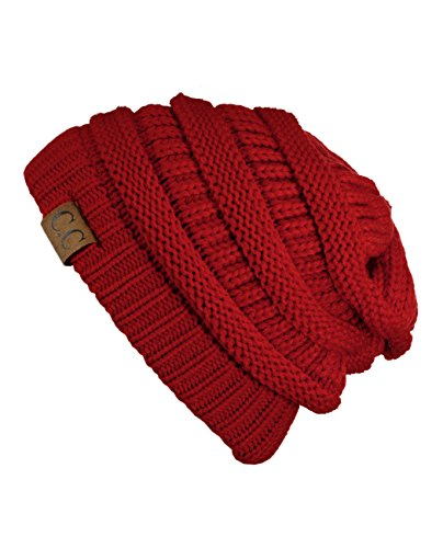 Unisex Trendy Warm Chunky Soft Stretch Cable Knit Slouchy Beanie Skully NYfashion101, HAT20A- Red