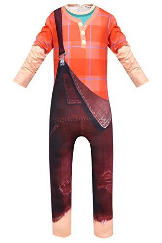 Toddler Wreck It Ralph Costume (SUPERCOS Kids Ralph Jumpsuit Deluxe Long Sleeve Onesie False Bib Halloween Cosplay Costume (110,)