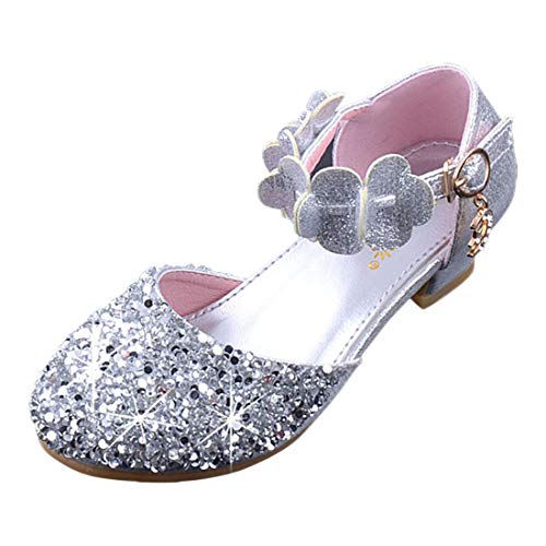 YIBLBOX Glitter Kids Girls Mary Jane Shoes Low Heel Bridesmaids Flower Girl Party Princess Dress Shoes