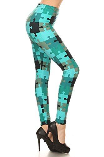 Leggings Depot Yoga Waist REG/Plus Women's Buttery Soft Leggings BAT2 (Teal Puzzles, Plus Size (L-2X / Size 12-20))