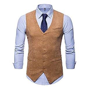 JOLIME Mens Corduroy Moleskin Vintage Waistcoat Casual Business 6Buttons V Neck Suit Vest