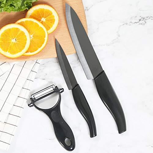 - Kitchen Academy Ceramic Knife Set 3-Piece (Includes 6-inch Chef's Knife, 4-inch Paring Knife, 1 Peeler), Ultra Sharp Kitchen Cutlery Knife Set(Black)
