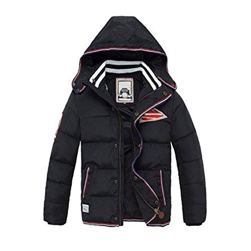 Tailloday Winterjacke für Kinder Jungen down Jacket Steppjacke Winter Jacket mit Wintermantel Mantel Trenchcoat Oberbekleidung Winter Kleidung Outerwear (Etikett 160 (Körpergröße 140-150), Schwarz)