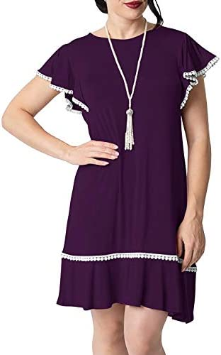Manydress Women's 1920s Style Butterfly Sleeve Casual Swing Day Dress MY044