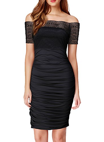 WOOSEA Women's Floral Lace Sexy Off Shoulder Ruched - 2015 Dress For Evening Party