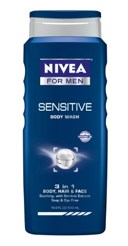 Nivea For Men Sensitive Body Wash 3-en-1 corps, des cheveux et du visage, une bouteille de 16,9 onces (pack de 3)