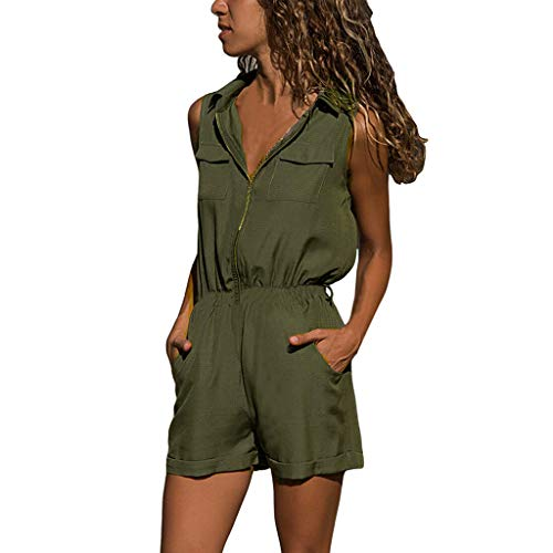 Cenglings Women V Neck Elastic Waist Casual Sleeveless Zipper Shorts Jumpsuit High Waist Slim Fit Short Rompers Playsuit Green ()