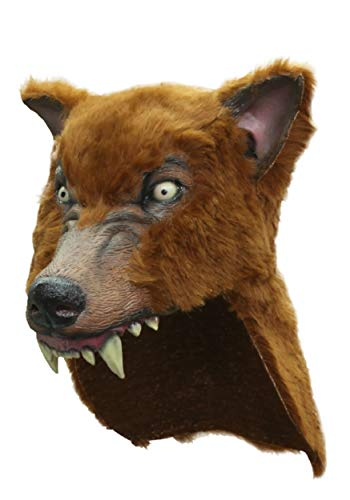 Brown Latex Faux Wolf-Skin Costume Hat -