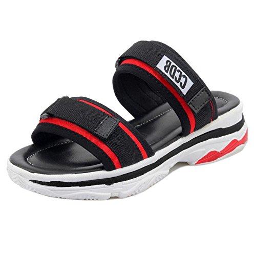 TAOFFEN Women Fashion Summer Sandals Open Back Red