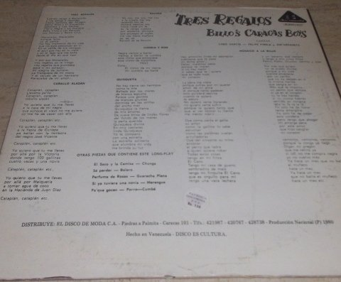 Tres Regalos, Billo's Caracas Boys // Lp Vinyl