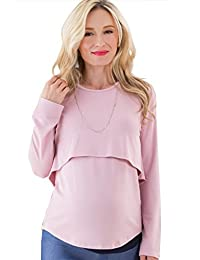 Sweet Mommy Rayon Long Sleeve Layered Maternity and Nursing Top