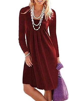 MIDOSOO Womens Long Sleeve Low Cut Solid Plain Pleated Casual Midi Dress
