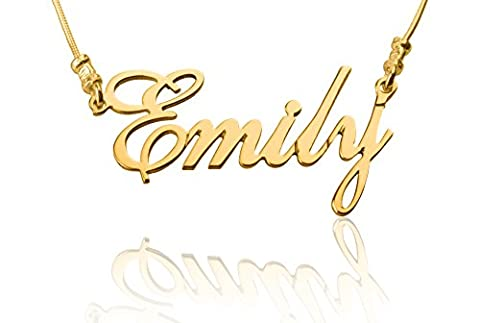 Any Personalized Name Necklace 24K Gold Plated Customize Custom Made Any Name - Mother's day gift (Gold Plate Chain Necklace)