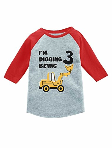 Construction Party 3rd Birthday Gift 3/4 Sleeve Baseball Jersey Toddler Shirt Red 3T (3/4 Sleeve Birthday)