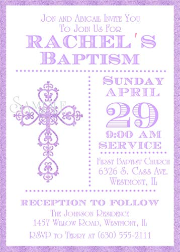 Girls Lavender Personalized Baptism, Christening, First Communion or Baby Dedication Invitations