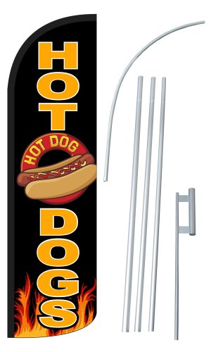 "NEOPlex - ""HOT DOGS"" 12-foot SUPER Swooper Feather Flag With Heavy-Duty 15-foot Pole and Ground Spike"